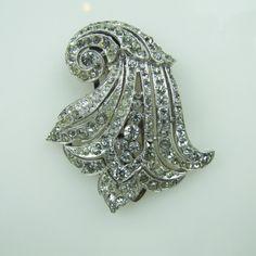 Early Trifari Art Deco Diamante Dress Clip Brooch. Alfred Philippe Design Geometric Bell Flower. Clear Crystal Rhinestone Pave Icing c1930 by MercyMadge on Etsy