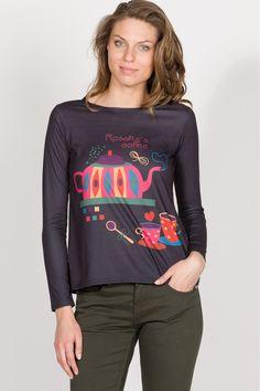 T-shirt de manga larga estampada y con cristalitos. - MUJER | Rosalita McGee