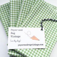 FQ Fabric: small gingham sage green & white; One fat quarter cut from upcycled bed sheet by PaperAndRagVintage on Etsy https://www.etsy.com/listing/399363325/fq-fabric-small-gingham-sage-green-white