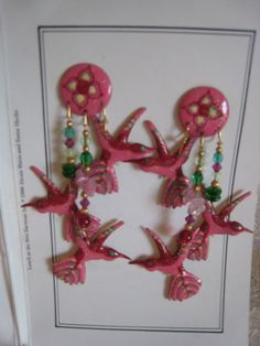 Vintage 1980s LUNCH AT THE RITZ Hummingbird Earrings Fabulous! from escapetoelegance on Ruby Lane