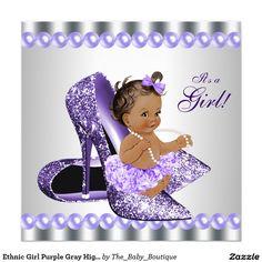Ethnic Girl Purple Gray High Heel Shoe Baby Shower Invitation