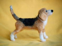 Needle Felted Beagle Portrait Sculpture By http://furrymemory.com/