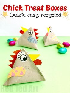 Toilet Paper Roll Chicken Box - super cute & EASY Chick Treat Boxes from Cardboard Tubes, fill with chocolate eggs or other treats and give to friends, family and classmates #easter #chick #classroom #toiletpaperroll #cardboardtube
