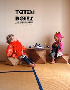 Cardboard Totem Boxes pattern and video by cardboardcollect