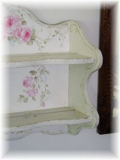 """Hand painted shabby chic rose shelf.  This little shelf measures...22"""" wide x 20"""" high x 5"""" deep."""