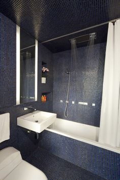 ceiling hung shower curtain bathtub toilet flowers wall storage mirror modern bathroom of Cute Ceiling Hung Shower Curtain Choices to Pick