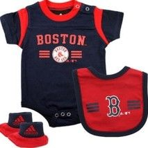 Boston RED SOX Adidas Infant Onesie Bib Bootie Set. my kids are going to have SO much red sox stuff. it's going to be ridiculous.