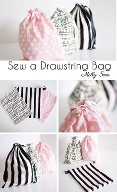 First sewing project - Sew a Drawstring Bag - Beginner Sewing Project - Melly Sews