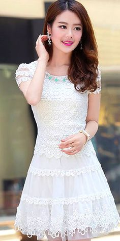 Sweet Lace Embroidery Fold Hollow Out Flower Girl Dress-White