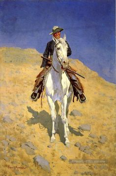 Self Portrait on a Horse Far West américain Frederic Remington Peintures à l'huile