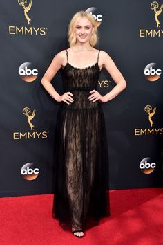 Sophie Turner Lace Dress - Sophie Turner looked simply lovely in a sheer black lace dress by Valentino, which she wore with a nude underlay, during the Emmy Awards.