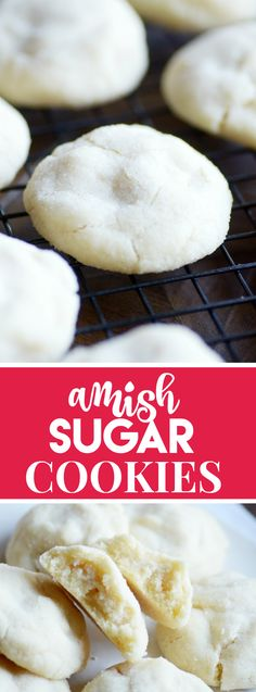 Amish Sugar Cookies AKA The Best Drop Sugar Cookies EVER - Something Swanky These Amish Sugar Cookies are by far the BEST sugar cookies I've ever eaten! Soft and pillowy perfect cookies. Drop Sugar Cookie Recipe, Drop Sugar Cookies, Christmas Sugar Cookies, Cookies Soft, Sweet Cookies, Christmas Candy, Christmas Treats, Holiday Treats, Christmas Recipes