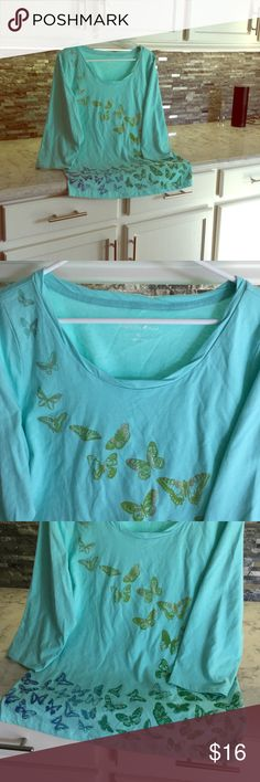 Bnwot. Butterflies are free 🌸💐🎀. Beautiful bluish green 3/4 sleeved Tee. Fun top embellished with colorful foil butterflies in an array of colors.  No tags but never worn. Fashion Bug Tops Blouses