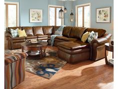 La-Z-Boy Devon 5 Piece Power Reclining Sectional with Left Arm Chaise and 2 Recliners   Conlin's Furniture   Reclining Sectional Sofas