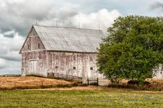 Fading White Barn in Shelby County, Indiana.