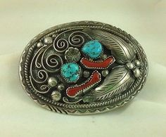 SOUTHWEST NATIVE AMERICAN STERLING SILVER TURQUOISE AND CORAL SIGNED BELT BUCKLE