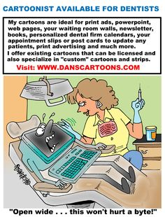 Cartoonist Dan Rosandich specializes in dental cartoon humor. Also offering services to create custom cartoons for dental firms, dental software firms, dental consultants, dental publishers, authors and related fields to dentistry. Fees to create specialize humorous illustrations are based upon usage and other factors and it's imperative to provide as much in depth information in advance of requesting a quote.