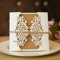 Rustic Elegance Laser Cut Wedding Invitations SWWS009