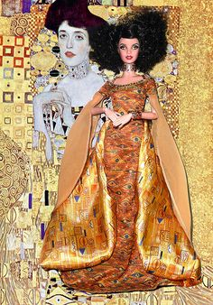 "From the Museum Collection, Barbie inspired by Klimt's painting ""Adele Bloch-Bauer I"". Her jewelery were repainted by Jack. Barbie Celebrity, Dolly World, Face Mold, Camille Pissarro, Still Life Photography, Wedding Photography, Mark Rothko, Barbie Collector, Gustav Klimt"