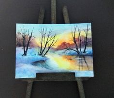 ACEO Winter painting aceo original painting miniature painting watercolour landscape sunset Christmas painting ATC art card by PicNatArt on Etsy https://www.etsy.com/listing/565437974/aceo-winter-painting-aceo-original