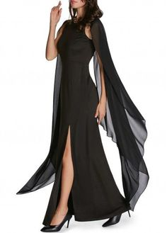 Cape Sleeve Front Slit Solid Black Maxi Dress | modlily.com - USD $30.95 Dressy Dresses, Sexy Dresses, Evening Dresses, Party Dresses, Wedding Dresses, Black Dresses Online, Tankini, Gowns With Sleeves, Maxi Dress With Sleeves