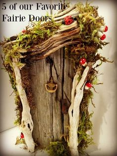 Rustic Miniature Fairy or Gnome Door.made with driftwood and embellishments! - Garden Style - Rustic Miniature Fairy or Gnome Door.made with driftwood and e Gnome Door, Gnome House, Fairy Tree Houses, Fairy Garden Houses, Gnome Garden, Fairy Crafts, Garden Crafts, Garden Ideas, Garden Inspiration