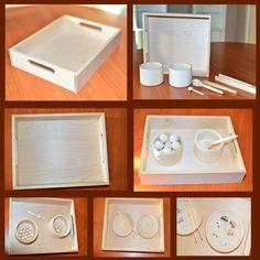 Деревянный поднос Монтессори 25 х 32 см - один из атрибутов материалов монтессори. - качественно изготовлен и отшлифована вручную, - из натуральной древесины березы Поднос вмещает в себя: - 6 деревянных плошек 9,5 х 6 см - 4 тарелочки диаметром 12 см - 4 коробочки (коробочки сотреры) размерами 11 х 11 х 11 см - Целый набор коробочек 5 в 1 Размер: 25 х 32 х 6 см Материал: массив березы