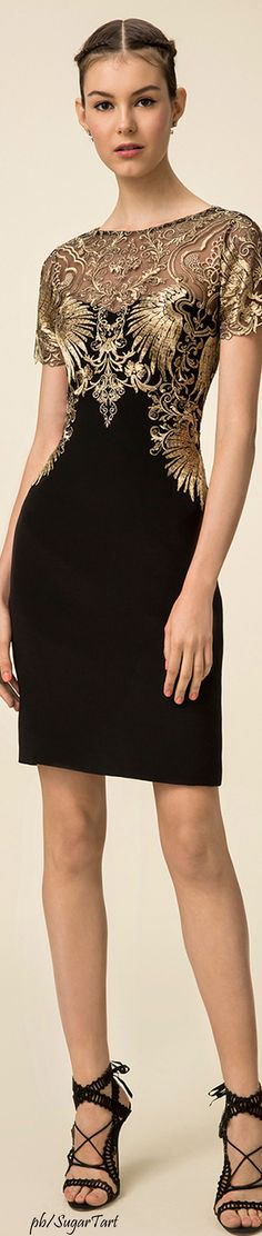 Marchesa Notte Spring 2016 Black short lace dress. women fashion outfit clothing style apparel @roressclothes closet ideas