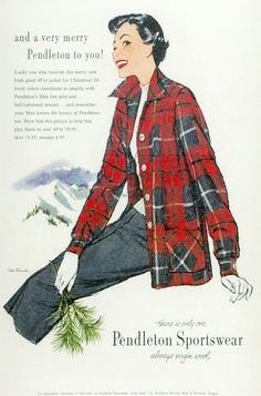 It's getting colder even here in our neck of the woods! Nice warm Pendleton woolens will keep you warm, whether vintage or new. 1940s Fashion, Vintage Fashion, Vintage Style, Tartan Fashion, Vintage Dresses, Vintage Outfits, Vintage Wardrobe, Vintage Clothing, Pendleton Shirts