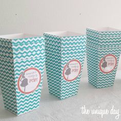 "teal and coral baby shower favor boxes, perfect for pop corn boxes, since they read ""she's ready to pop!"" or ""she's about to pop!"""