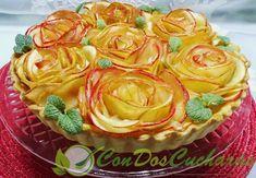 Tarta de manzana y crema como un ramo de rosas