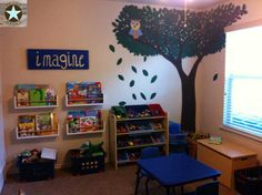 Playroom design with custom bookshelves, hand-painted mural, and sign. All done by Perks Werks!