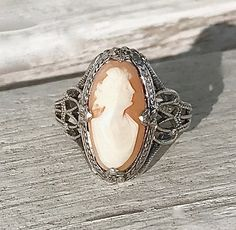 Antique Edwardian Ostby & Barton Carved Shell Cameo Sterling Silver Filigree Titanic History Ring Size 8.5 Gift for Her Free Shipping by AdornedInHistory on Etsy