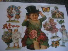 antique german paper cut outs vintage cut out dolls roses good luck by StinkyTinkysTreasure on Etsy