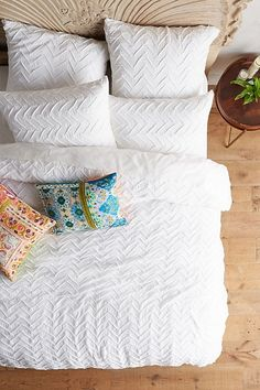 Textured Chevron Duvet Cover | Anthropologie