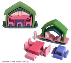 Green and Pink Furniture House, wooden nesting toy