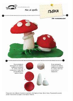 30 Plasticine and Salt Dough Models Clay Crafts For Kids, Food Crafts, Preschool Crafts, Arts And Crafts, Mushroom Crafts, Ecole Art, Cute Polymer Clay, Fondant Figures, Salt Dough