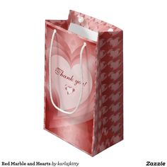 Red Marble and Hearts Small Gift Bag