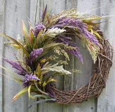 Lavender Grapevine wreath Fix Diane Saunders-Smith Fall Wreaths, Mesh Wreaths, Diy Wreath, Grapevine Wreath, Corona Floral, Lavender Wreath, Harvest Season, Summer Wreath, How To Make Wreaths