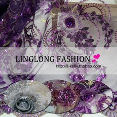 3 three-dimensional flower gauze paillette embroidered lace fabric for dress clothes diy handmade fabric $21.00