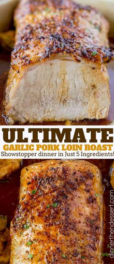 Ultimate Garlic Pork Loin Roast made with just five ingredients, it is easy enough for a weeknight meal and fancy enough for your holiday dinner parties! dinner for one Ultimate Garlic Pork Loin Roast - Dinner, then Dessert Pork Loin Recipes Oven, Crockpot Pork Loin Roast, Oven Roasted Pork Loin, Pork Chops, Pork Loin In Oven, Pork Recipes For Dinner, Slow Cooked Pork Loin, Baked Pork Roast, Pork Loin Marinade