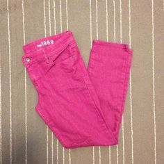 GAP always skinny purple jeans Super soft and stretchy Gap always skinny jeans in purple/magenta. These are in perfect condition! Size 10r                                              All pants BOGO half off! GAP Jeans Skinny