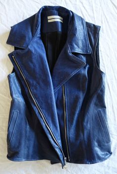 ~$995 THE ETERNAL BLUE LEATHER MOTORCYCLE VEST (TOUGH-GIRL CHIC!) ~ M #theeternal #Vest