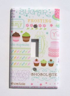 Cupcake Kitchen  Light Switchplate Cover Chocolate Cake Sweets Candy Wall Decor. $6.50, via Etsy.