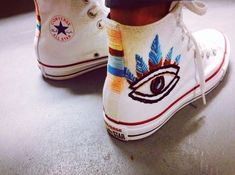 Evil Eye embroidered Converse sneakers from RoseAndRoyce on Etsy - embroidery Embroidery Floss Projects, Diy Embroidery, Diy Converse, Converse Shoes, Custom Shoes, Custom Clothes, Do It Yourself Mode, Sneaker Art, Diy Clothing