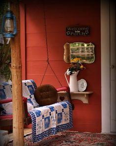Good idea: shelf by the swing to hold my sweet tea or fresh lemonade! :)