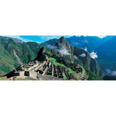 High angle view of ruins of ancient buildings Inca Ruins Machu Picchu Peru Canvas Art - Panoramic Images (30 x 12)