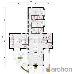 Dom w elismach Village House Design, House Front Design, Village Houses, L Shaped House, House Design Pictures, Modern Bungalow House, Beautiful House Plans, Mediterranean Homes, New House Plans