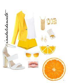 """orange-yellow-white"" by izabelchenceto ❤ liked on Polyvore"