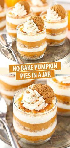 No Bake Pumpkin Cheesecake, No Bake Pumpkin Pie, Homemade Pumpkin Pie, Pumpkin Pie Recipes, Baked Pumpkin, Easy Pumpkin Desserts, Easy Desserts To Make, Mini Pie Recipes, Pumkin Pie